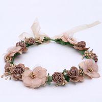 künstliche haare für bräute großhandel-Kinder Blume Haarbänder Kirschblüten PE Künstliche Blumen Haarschmuck Strand Headwear Für Braut Hochzeit Kopfschmuck