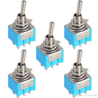 Wholesale 5pcs Toggle Switch - 5Pcs Blue 6-Pin DPDT ON-ON Mini MTS-203 6A125VAC Miniature Toggle Switches B00020 JUST
