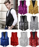 Wholesale Stage Clothing Gold - Wholesale- Paillette Male Sequins Stage Performance Costumes Men Vest MC Host Clothing Waistcoats Show Sleeveless Jackets Gold Silver D203