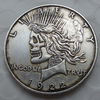 Wholesale Two Kinds - US Head-To-Head Two Face 1921 1922 Peace Dollar skull zombie skeleton hand carved Copy Coins