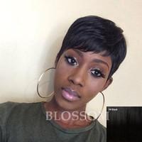 perruques afro-américaines sans colle achat en gros de-Pixie Cut Courte De Cheveux Humains Dentelle Perruques