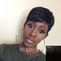 african american glueless perücken großhandel-Pixie Cut kurze Menschenhaarspitzeperücken Glueless Spitzefrontmenschenhaarperücken für Afroamerikaner Beste brasilianische Haarperücken