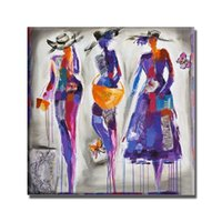 Wholesale Beautiful Girls Picture - Hand painted cartoon figure oil paintings for living room wall decor beautiful sexy nude hot naked girl picture