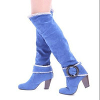Wholesale High Heel Platform Shoes Less - Wholesale-Large size 34-43 2015 New Women Knee High Boots Sexy Chunky High Heels Spring Autumn Shoes Round Toe Less Platform Knight Boots