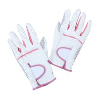 Wholesale Women S White Leather Gloves - Custom LOGO Women White with pink Anti-slip Breathable Soft Artificial Leather Golf Gloves Perforated fingers allow enhanced breathability