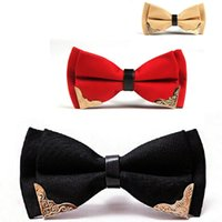 New Bow Tie for Men Poliéster ajustável bowtie Solid fashion Mental butterfly Decorated Neckwear comercial 2pcs / lot