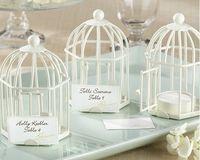 pájaros jaulas de pájaros al por mayor-Titular de la tarjeta de lugar de la forma de jaula de pájaro clásico europeo Jaula de pájaro de metal blanco y negro candelabro titular de la tarjeta mesa