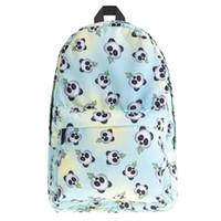 Wholesale cartoon girl panda backpack - New Style Backpack emoji panda Student Bags Hot 3D Printing Fashion Travel Bag Woman Man Shoulder Bags Top Quality