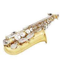 Wholesale White Alto Saxophone - LADE Alto Saxophone Sax Glossy Brass Engraved Eb E-Flat Natural White Shell Button Wind Instrument