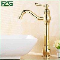 Wholesale Long Basin Tap - FLG Contemporary Bath Mat Cold & Hot Deck Mounted Long Spout 1 Lever Pump Golden Color Mixer Basin Faucet Gold Basin Taps M125