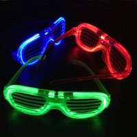 Wholesale rave halloween costumes - Wholesale- Shades led glasses party Funny Tricky fluorescent luminous Rave Costume Party DJ Bright