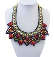 Wholesale Tibetan Chokers - Statement Necklace Nepal Tibetan Style Resin Bead Bohemian Necklaces Pendants Vintage Handmade Braided Colorful Bead Bib Collar Necklace