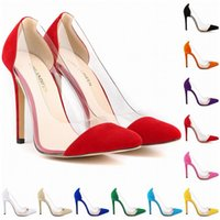 Wholesale Big Offers - New Style Special Offer Femininos Women Shoes Patchwork High Heels Pointed Corset Style Work Pumps Court Big Size 4-11 D0007