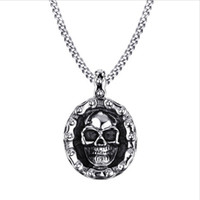 Wholesale Vintage Style Bikes - Mens Bike Necklaces Stainless Steel Vintage Skull Motorbike Chain Pendant Necklace for Men Boy Punk Style Jewelry PN-706