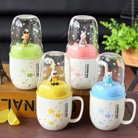 Wholesale Stainless Steel Ceramic Coffee Mugs - Mini Animal Stainless Steel Spoon Ceramic Mug With Silicone Lid Creative Cartoon Multifunction Glass Coffee Cups 2017 Fashion Home Drinkware