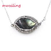 Wholesale Labradorite Oval - Oval Rhinestone Labradorite Crystal Pendants Reiki Pendulum Stainless Steel Accessories Charms Fashion Jewelry For Women