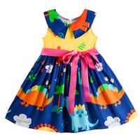 çocuklar kız peter pan yaka toptan satış-Kseniya Çocuklar Büyük Küçük Kızların Elbiseler Prenses Kolsuz Peter Pan Yaka Kurdela Yay Düğüm Yaz Kız Hayvan Elbise Pamuk