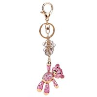 Bear Bells Crystal Rhinestone Keyring Porte-clés sac à main pour la voiture Mode Noël Cute Gift Keychains For Women Jewelry 2017 Wholesale