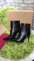 Wholesale Gold Shoes Mid Heel - Cheap Wholesale Winter Boots Women Short Boots High-heeled Genuine Leather Chain Rivet Pumps Shoes Black Gold Luxurious Brand Boots with Box