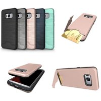Wholesale 2 in Protector Brushed Case Hybrid Armor Holder Credit Card Pocket Cover With Kickstand Shell For Samsung S8 S8 plus For Samsung S7 edge