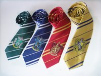 Wholesale Striped School Tie - 4 color tie gryffindor badge slytherin gryffindor ravenclaw hufflepuff striped ties School neckwear