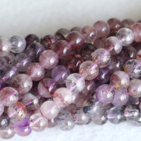 Wholesale Super Seven Stone - Wholesale- Natural Multi Color Mica Purple Super Seven Super 7 Round Loose Small Beads Melody Stone Fit Jewelry Necklace Bracelets 04180