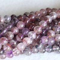 Wholesale Super Seven Melody Stone Beads - Wholesale- Natural Multi Color Mica Purple Super Seven Super 7 Round Loose Small Beads Melody Stone Fit Jewelry Necklace Bracelets 04180