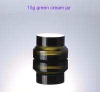 kosmetikglaskolben deckel geben verschiffen frei großhandel-Freies Verschiffen - 300pcs / lot 15g grünes Glascremetiegel mit Deckeln, 15ml Sahneflasche, 15g Glasbehälter, kosmetische Verpackung