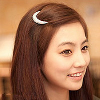 Wholesale Clip Bangs Wholesale - Silver rhinestone moon hair pin hairpin hair accessory hairpin side-knotted clip bangs clip frog clip 12pcs lot