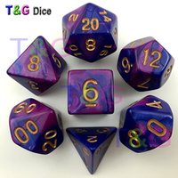 Wholesale Dices Sets - New 7pcs Mix color Magic Purple Dice Set with Nebula effect rpg game Dice brinquedos dados juguetes dungeons and dragons