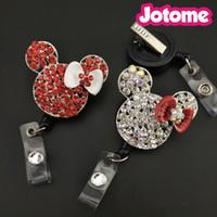 Wholesale Wedding Name Holders Crystals - 50PCS Lot Choose Color First, Mini Mouse Rhinestone Pendant Nurse Medical Gift Retractable ID Name Badge Reel Holder