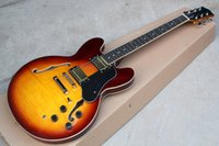 Wholesale Electric Guitar Hollow Body Gold - Hot Sale Semi-hollow Tobacco Sunburst Electric Guitar with Gold Hardwares and Flame Maple Veneer and Can be Changed