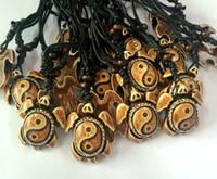 Wholesale Tibetan Chokers - FREE SHIPPING Hot 12 pcs YQTDMY Wholesale Tibetan Yin Yang Turtle Charm Pendant Necklace Cord Choker Necklace