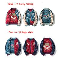 chaqueta de satén rojo mujer al por mayor-¡¡¡Parte superior!!! Chaqueta de béisbol bordada de satén de lujo con dos lados Mujeres Hombres Chaqueta Streetwear Outwear Azul / Rojo Chaqueta de aviador S-2XL