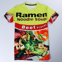 Wholesale Design Noodle - New Ramen Noodle Soup Funny 3D T-Shirt Men's Short Sleeve Funny Printing Tee Design Graphic Casual Tees Tops MDLG0425