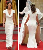 Wholesale Burgundy Wedding Dresses Uk - Vintage Affordable Pippa Middleton Bridesmaid Dress Cheap Simple Designer White Wedding Dresses Mermaid Draped Neck Bridal Gowns UK