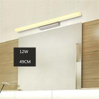 Wholesale Bathroom Led Vanity Lights - L39cm L49cm L59cm L69cm L89cm led mirror light stainless steel base acrylic mask bathroom vanity wall mounted lights FIXTURE