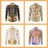 Wholesale Colours Shirts For Men - 2017 Men Floral Print Colour Mixture Luxury Casual Harajuku Shirts Long sleeves Men's Medusa Shirts tiger Print shirt for men printed