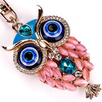 Wholesale Owl Key Pendant - 2017 fashion cute owl imitation diamond key chains color alloy bells penden bohemia girl opal pendant creative key chains for women jewelry