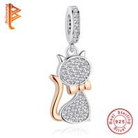 sterlin gümüş kedi takılar toptan satış-BELAWANG Yeni 925 Ayar Gümüş Gül Altın Takılar Güzel Kedi Charm Boncuk Fit Pandora Charm Yılan Zincir Bilezikler DIY Takı Yapımı