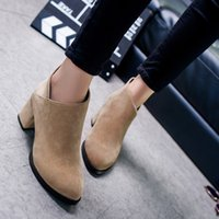Wholesale Autumn Boots Thick Heel Vintage - Wholesale- Autumn and Winter Women Boots Thick Heel Leather Female Side Zipper Shoes Vintage Fashion Ankle Boots Women Shoes Botas