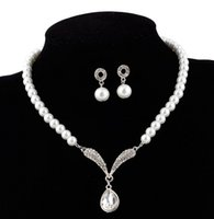 Wholesale Wholesale Faux Pearl Necklace Set - Free shipping hot sell alloy pearl necklace earring two-piece fashion bridal jewelry wedding dress accessories shuoshuo6588
