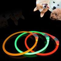 Wholesale Pvc Dog Collar - 1pc PVC LED High Quality USB Luminous Pet Dog Cat Collars Flash Rechargable Safety Equipment
