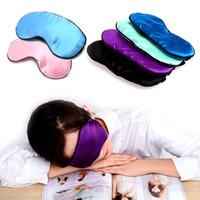 cáncamos de color al por mayor-10 UNID Nueva Máscara de Ojo del Sueño Puro de Seda Cubierta Acolchada de la Sombra Viaje Relax Aid Blindfold 9 Colores