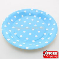 """Wholesale Blue Paper Plate - Wholesale-60pcs 9"""" Blue Paper Plates White Polka Dot,Wholesale Birthday Party,Baby Shower,Wedding Dishes Tableware-Choose Your Colors"""