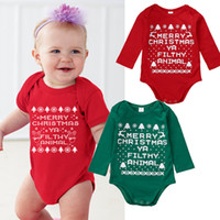 Wholesale Little Boys Girls - Christmas Baby Rompers Suit Unisex Toddler New Year Clothing Porn Little Boys Girl Onesies Infant Merry Romper Boutique Kids Clothes Next