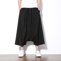 Wholesale Mens Linen Trousers Skinny - Wholesale- Summer shorts Chinese style hip hop harem trousers high quality cotton and linen casual loose mens shorts size