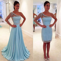 Wholesale Short Cocktail Dresses Sale - Hot Sale Sheer Cocktail Prom Dress Evening Sleeve With Detachable Train One Shoulder Sheath Beaded Short Dresses Sequined Evening Wea