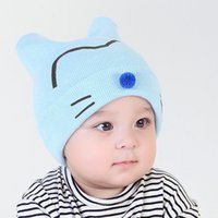 Wholesale Pattern For Beanie - Wholesale Sports baby girl boy beanie hat knit pattern spring outdoor top baby hat cap beanie autumn winter for 1-12 months baby