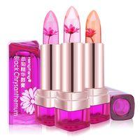 flower jelly lipstick toptan satış-Sıcaklık Değişimi Renk Dudak Su Geçirmez Uzun Ömürlü Tatlı Şeffaf Jöle Çiçek Pembe Nemlendirici Ruj 3 Lezzet 3 adet